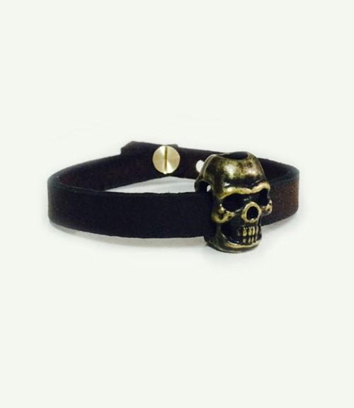 دستبند چرم با طرح اسکلت